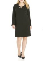 NWT MICHAEL KORS BLACK GROMMET SHIFT CAREER DRESS SIZE XL $125 - $42.74