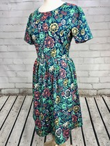 LULAROE Amilia Dress Size Large L 14/16 Floral Print Fitted Stretch Shor... - $39.60