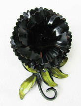 "Coro black flower enamel on metal pin 1 3/4"" wide brooch - $9.95"
