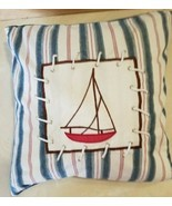 "Sailing Ship Pillow 11"" x 11"" Ocean Nautical Cottage Decor FREE SHIPPING - £9.37 GBP"