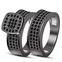 Black Rhodium Finish Pure 925 Silver Sim Diamond Engagement Bridal Ring Set  - $99.99