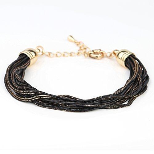 UE- Exquisite Gold Tone With Black Overlay Multi Strand Designer Bracelet