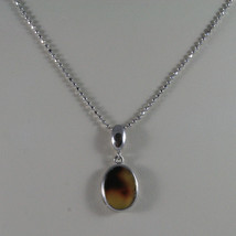 .925 SILVER RHODIUM NECKLACE WITH MESH BALLS AND OVAL OF YELLOW RESIN image 1
