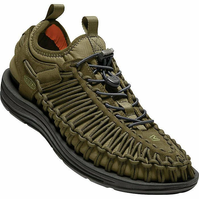 Keen Men's Uneek HT Corded Sandals Dark Olive/Gothic Olive/Black Size 9.5