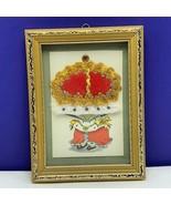 Framed art collage fiber United Kingdom England British vintage mcm Quee... - $39.55