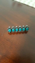Vintage Sterling Silver Turquoise Pin Brooch, Possibly Native American - $29.95