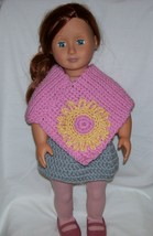 American Girl Pink Poncho with Yellow Flower, Handmade Crochet - $15.00