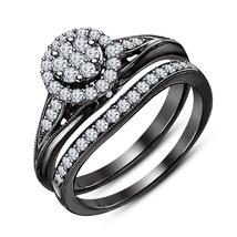 White Diamond Bridal Engagement Ring Set Black Gold Plated 925 Sterling ... - $94.98