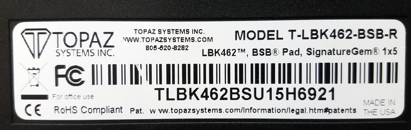 Topaz Systems Signature Pad 1x5 T-LBK462-BSB-R Bin:10