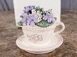 Avon February Musical Tea Cup Violet Floral Basket Purple I Just Called ... - $14.53