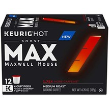 MAX by Maxwell House Boost K-Cup Coffee, 1.75x Caffeine, 72 Count 6 Packs of 12