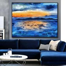 Seaside View Horizon Hand Painted Oil Painting Wall Art Decor - $115.69+