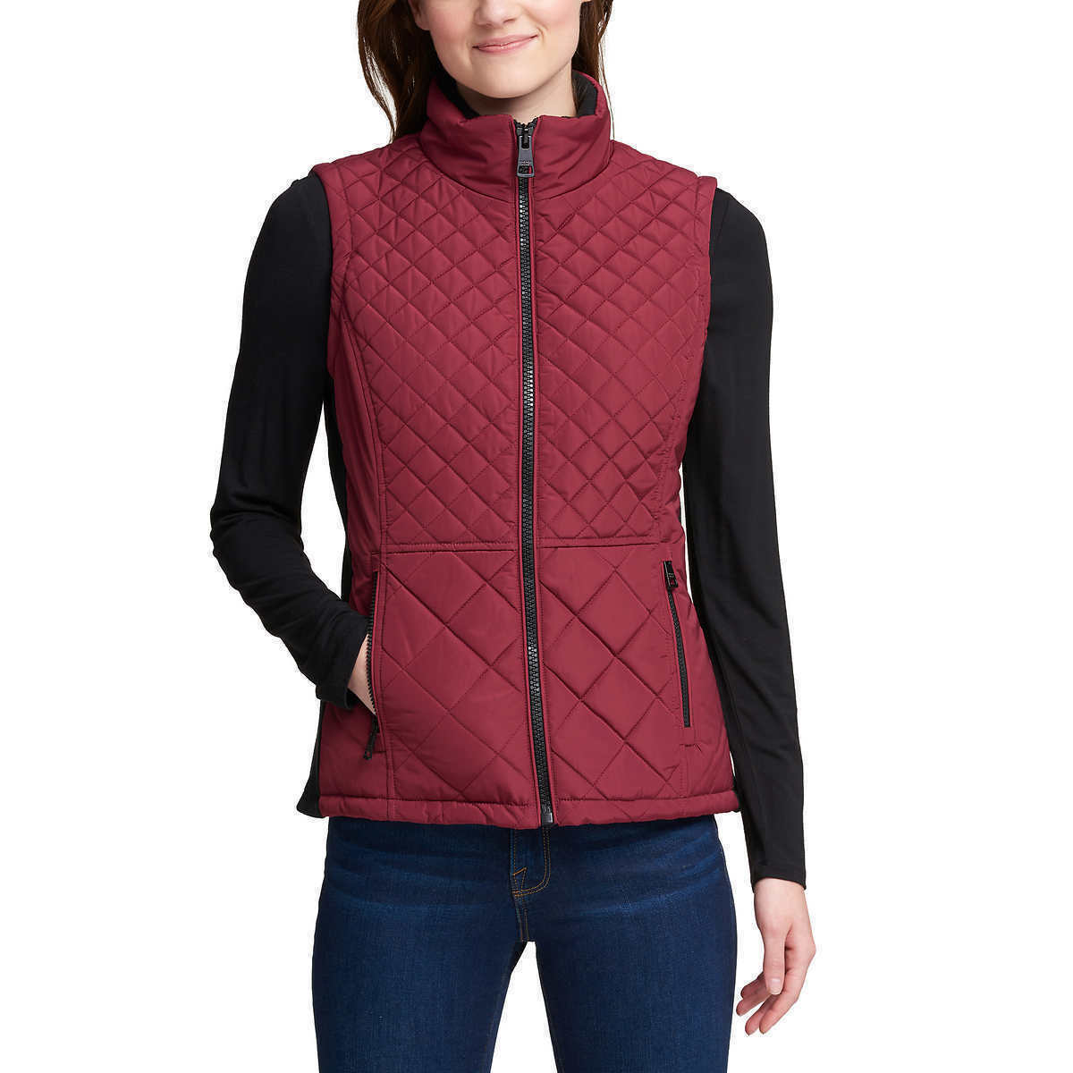 NEW Andrew Marc Women's Beet Red Quilted Insulated Zip Up Vest