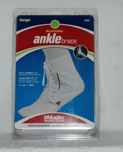 Mueller Sport Care 208LG Large Bilateral Ankle Brace White Laces Left Right