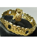 "Golden Applique Oneida 6.25"" Cuff Bracelet Sz 8 Spoon Ring Adjustable Ma... - $24.99"
