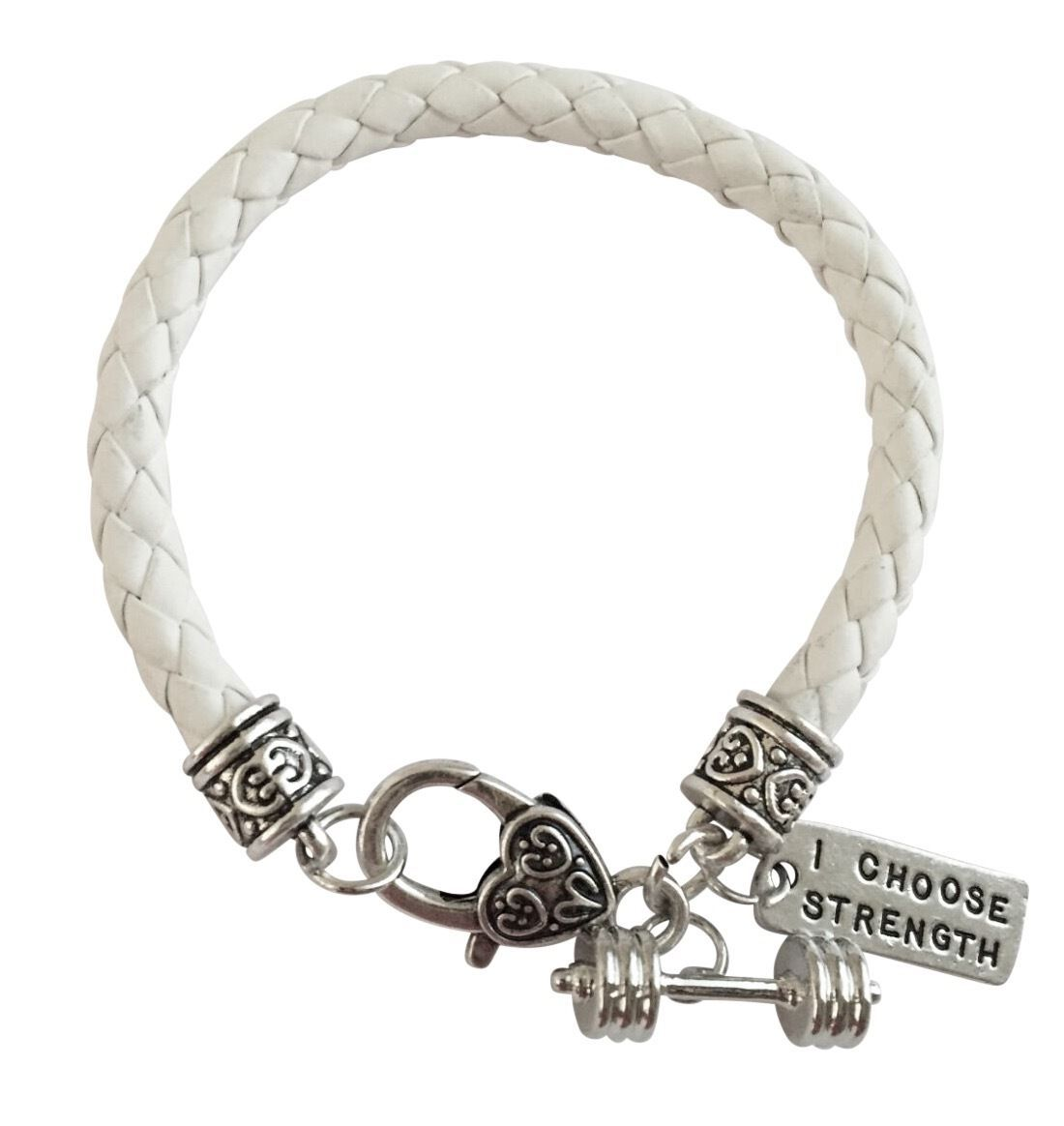 White Crossfit Training Crossfit Fitness Dumbbell Braided Leather Charm Bracelet