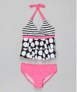 Girls (7-16) St. Tropez Dotted Hearts Tankini, Black Plumi Size 14 NEW W... - $15.00
