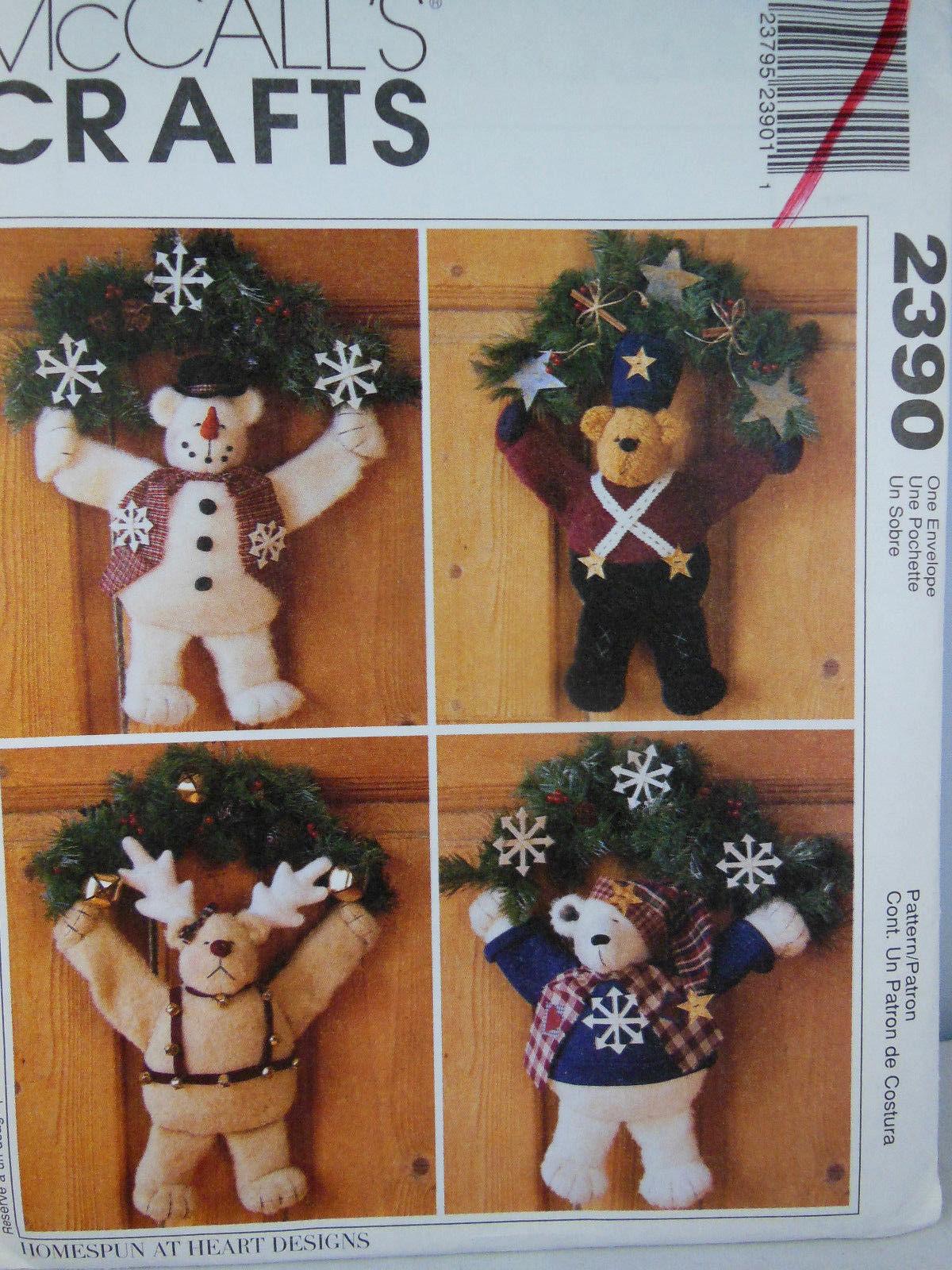 "McCall's 2390 Crafts Pattern Warm Fuzzy Winter 14"" Bear Wreaths UNCUT Smoke free - $4.15"
