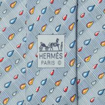 100% Auth HERMES TIE Silk Necktie Mens XL Navy RAIN DROPS Pattern 7907 - $112.95