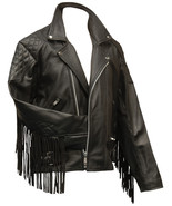 Men's New Versatile Black Motorcycle Biker Fringes Cow Leather Jacket FJ07 - $157.41+