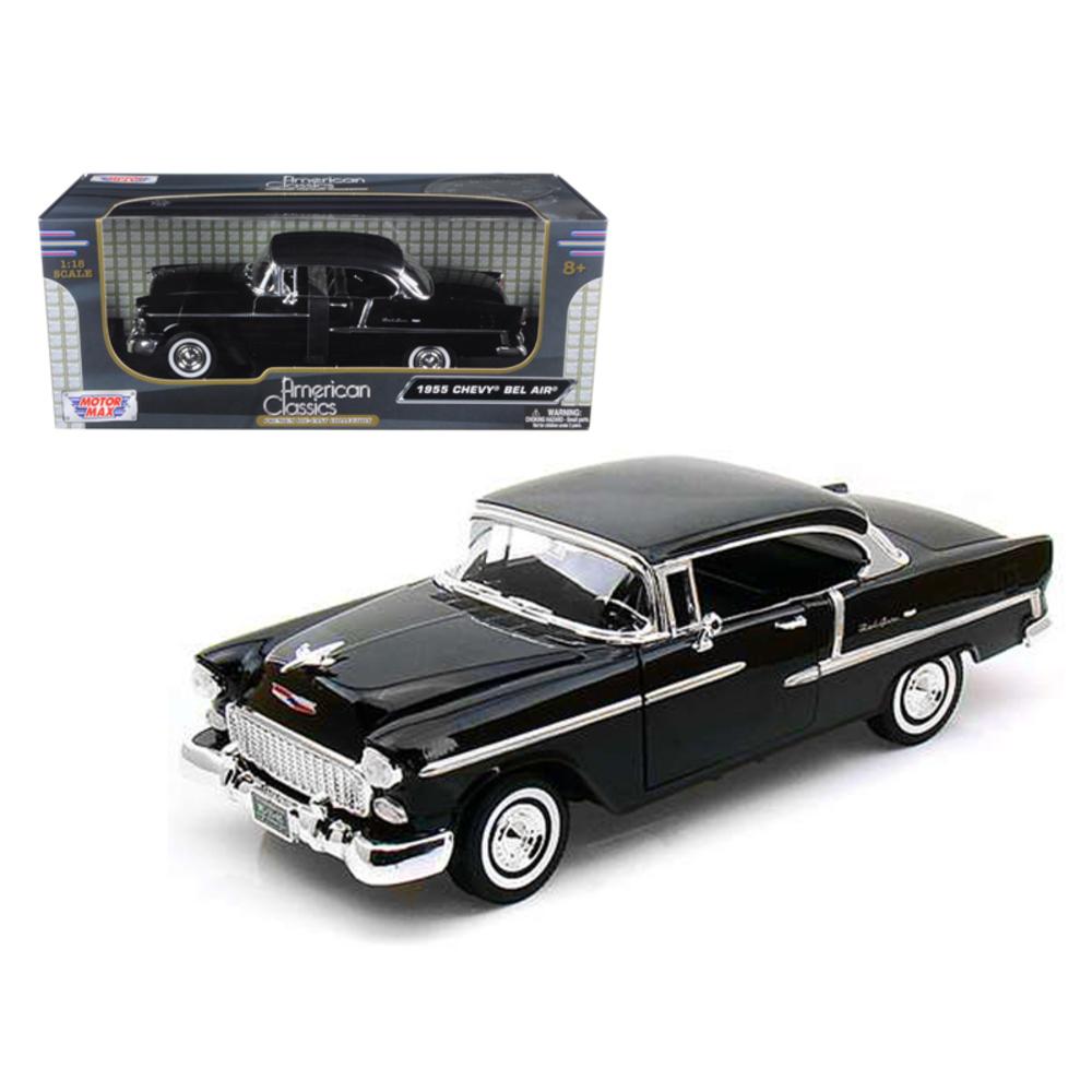 1955 Chevrolet Bel Air Hard Top Black 1/18 Diecast Car Model by Motormax 73185bk