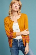 New Anthropologie Embroidered Dove Cardigan by Field Flower $148 XS Gold - £34.97 GBP