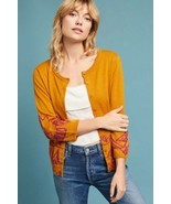 New Anthropologie Embroidered Dove Cardigan by Field Flower $148 XS Gold - $44.55