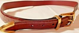Irvine Park Mens Belt Size Med Red Brown Genuine Leather Gold Colored Bu... - $10.40