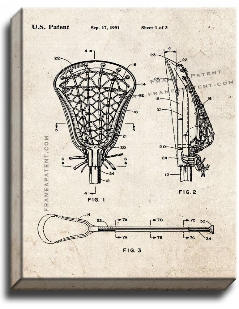 Primary image for Lacrosse Stick Patent Print Old Look on Canvas