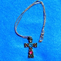 Cross pendant necklace with teal and pink stones - $20.00