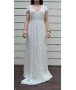 $2200 Saja Boho Beach Silk Ivory Keyhold Back Cap Sleeve Bridal Wedding ... - $367.98