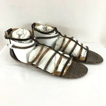 Nine West Womens Sandals Strappy Ankle Strap Faux Leather Brown Size 11 - $24.18