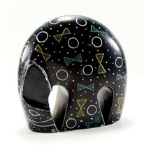 Heavy Solid Stone Modern Abstract Bowie Circle Polka Dot Elephant Statue... - $35.99