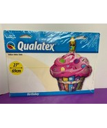 "Birthday Cupcake 27"" Balloon Pink Orange Blue Purple Foil Helium NEW - $9.89"