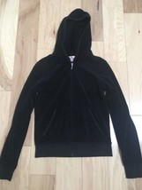 Juicy Couture Women's Track Jacket  SIze L Black Velour Long Sleeve (shr... - $19.79