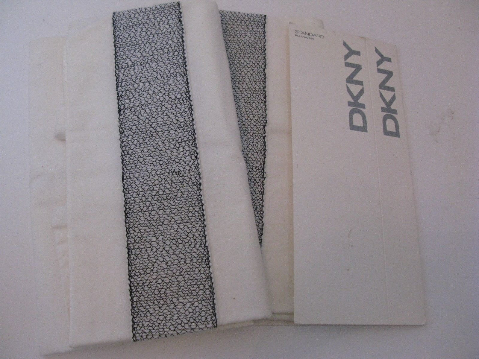 DKNY Rope Embroidery Standard Pillowcases NEW