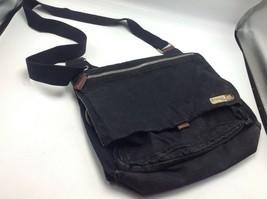 """Fossil Black Canvas Crossbody Bag Messenger Shoulder 12"""" x 10"""" Flap Closure - $27.81"""