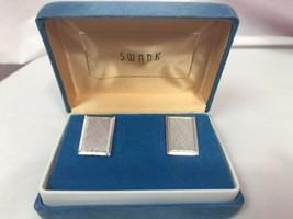 Vintage Swank Silver Rectangular Cuff Links in Original Box - $9.49