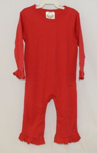 Blanks Boutique Long Sleeve Red Snap Up Ruffled Romper 18 Months