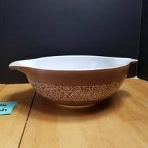 Pyrex Woodland Tan Cinderella Bowl 444 4 Quart Brown with Whit Floral Design - $9.85