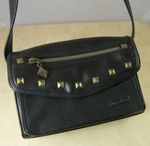 Nine West Small Black LEATHER-LIKE Purse Handbag Brass Metal Studs - $12.35