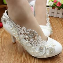 Floral Rhinestone victorian Bridal Heels,Dream wedding Heels uk size 3,4,5,6,7,8 - $39.99