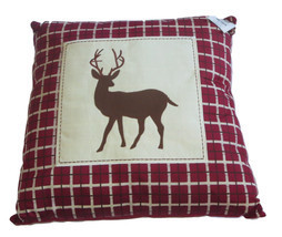 Whitetail Deer Patch Pillow Throw New Plaid Silhouette Maroon Wild Anima... - $29.69