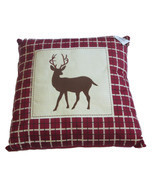Whitetail Deer Patch Pillow Throw New Plaid Silhouette Maroon Wild Anima... - $39.25 CAD