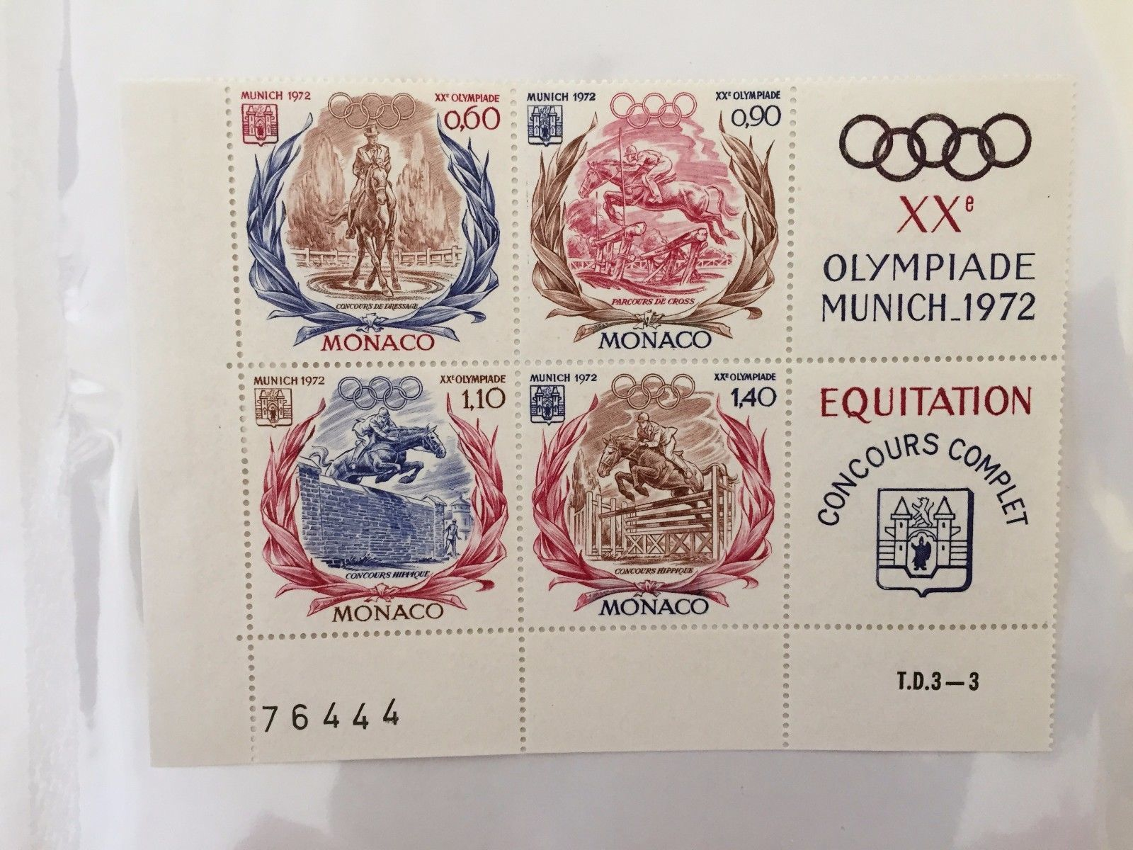 F98 Monaco Souvenir Stamps Rainier Louis Munich Olympics 1972 Europa 1976 1984