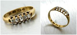 Ladies 1890s Victorian 18K 750 Yellow Gold Diamond Eternity Engagement Ring - $401.12