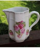 Antique 1900s Rose Floral Porcelain Pitcher McCoy McBride Original Owner... - $29.69