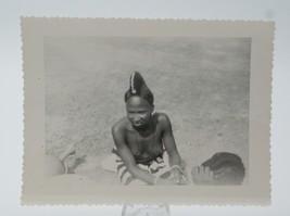 Original WW2 Era Nude Photo Native African Woman w/ Elaborate Hair Mossi... - $35.05