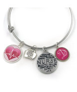 Personalised Nurses Charm Bangle Bracelet, Nurse Charm, Nurse, Hospital,... - $17.00