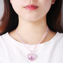 2019 HF JEL Cute Murano Glass Necklaces for Women Black Pink Organza Rop... - $16.33